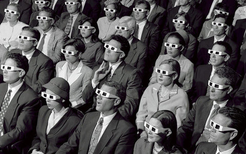Audience in 3D glasses