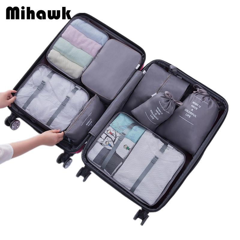 1fd9331a741d Mihawk 8Pcs Travel Bags Sets Waterproof Packing Cube Portable Clothing  Sorting Organizer Luggage Accessories Supplies Products