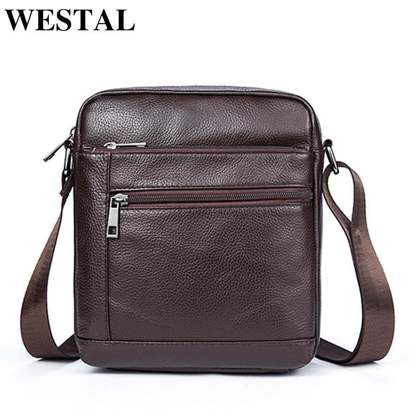 8ac3436c7bcb WESTAL Genuine Leather Men s Bags Crossbody Bags Flap Male Messenger Bag  Men Leather Small Ipad Holder