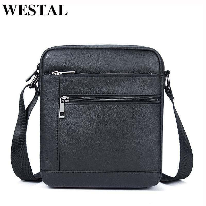 3aa38c8284db WESTAL Genuine Leather Men's Bags Crossbody Bags Flap Male Messenger Bag  Men Leather Small Ipad Holder Shoulder Bag naturally