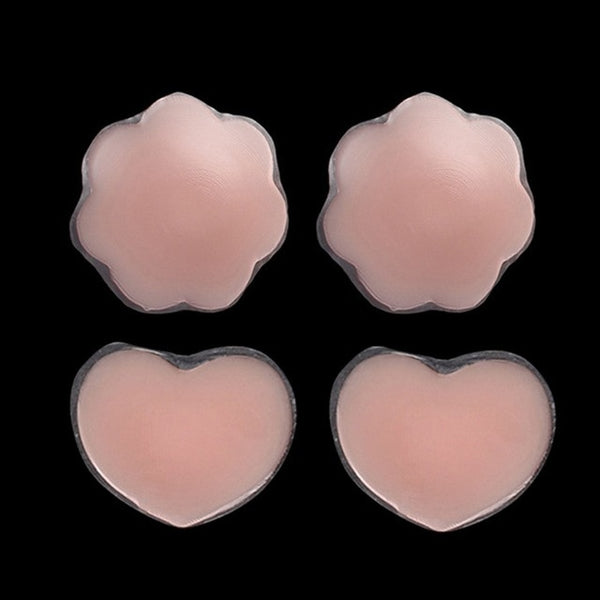 2 Pairs Self Adhesive Silicone Petals Reusable Flower Heart Round Nipple Cover Bra Pad Invisible Breast for Party Dress 2019