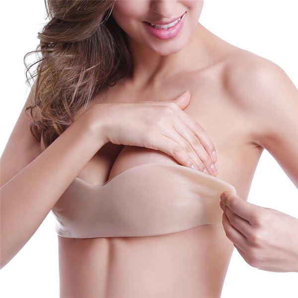 2019 New Women Silicone Push Up women's underwear Invisible Bra Self Adhesive Strapless Bandage Blackless Solid Bra
