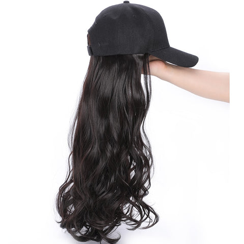 MERISI HAIR 24 Inch Long Wavy Synthetic Hair Wig With Hat Hot Style Black Color for Woman High Temperature