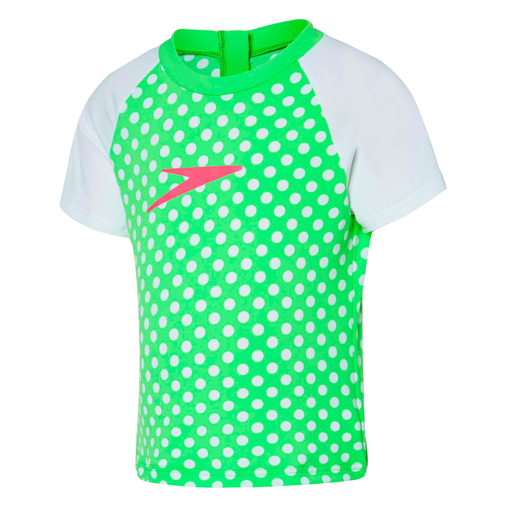 Toddler Girls Spot Short Sleeve Sun Top Summer Green/White
