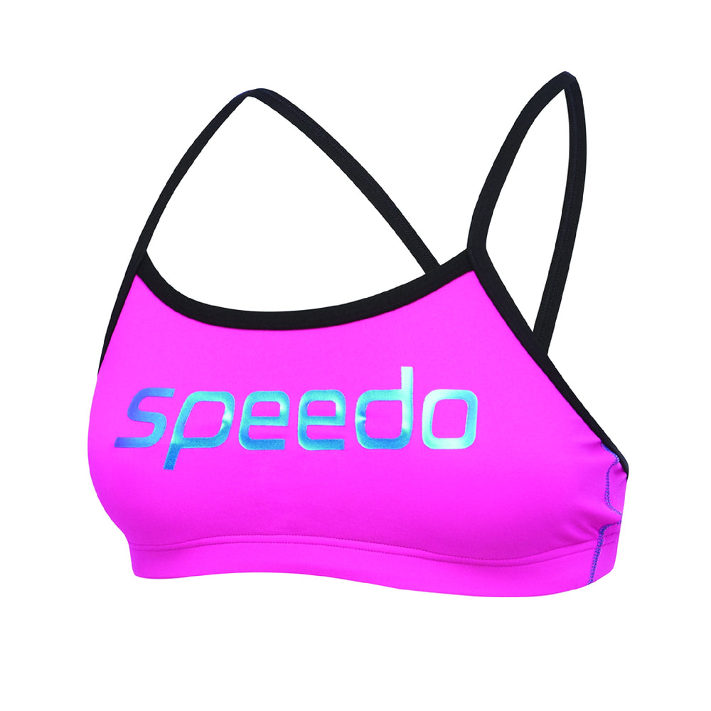 Womens Endurance+ Crop Top Neon Pink/Black