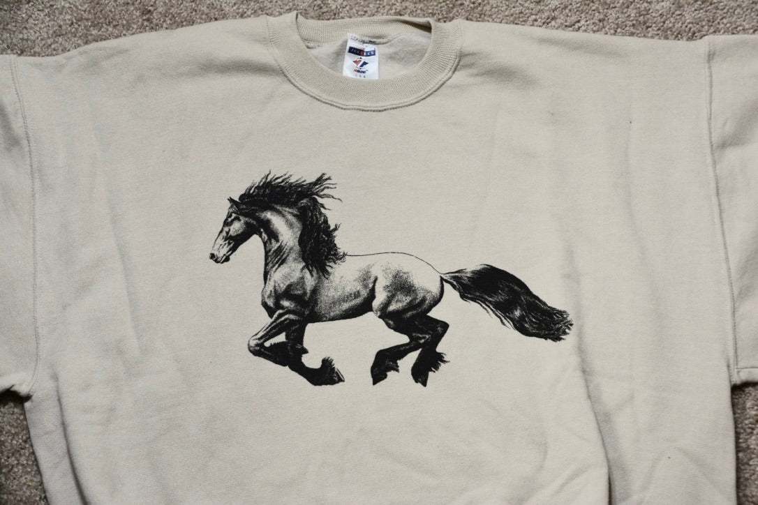 Crew Neck Sweatshirt with Trotting Friesian