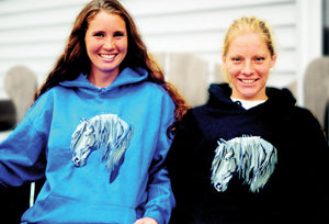 Hooded Sweatshirt with Embroidered Friesian Head
