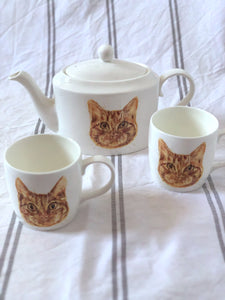 Commission a pet portrait - Tea Set of Two Cats