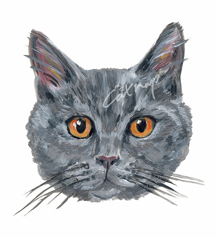 A custom pet portrait painted in highly detailed style. Catnap Design London.