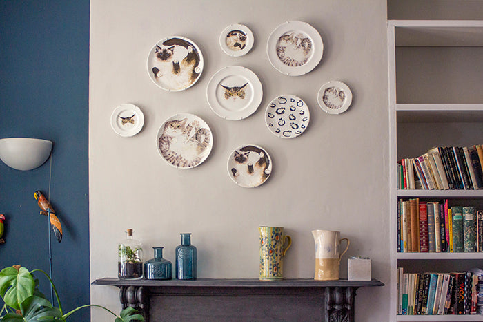 Luxury decorative plates with animal designs for hanging on a wall. Catnap Design London.