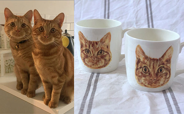 Cat pet portraits on white china mugs. Two cats illustrated. Catnap Design London.