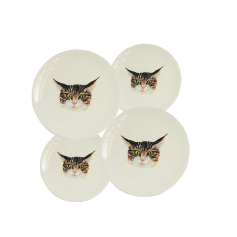 Cat face plates. 4 White china coupe plate with illustrated tabby cat faces on them. Mixed sizes. Catnap Design London.