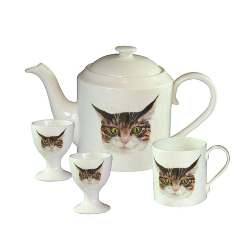 Cat Teapot and matching mug and egg cups. Catnap Design London.