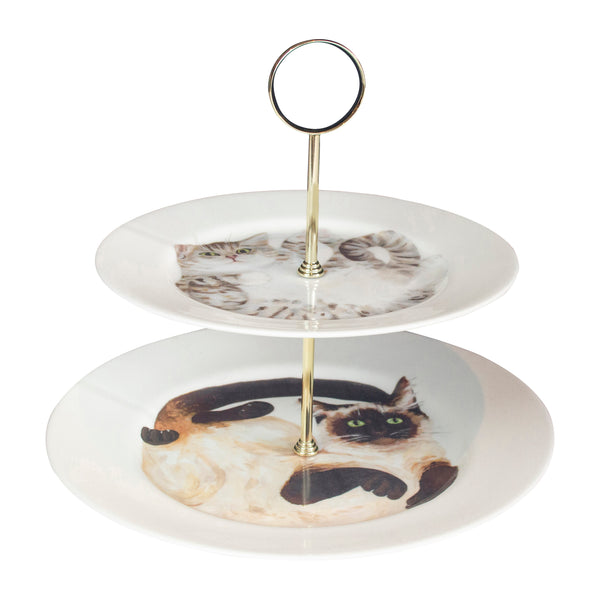 Cat cake stand. A two tier cake stand with an illustrated cat on each tier. Siamese cat on the bottom, the top tier has a pale tabby. Catnap Design London.