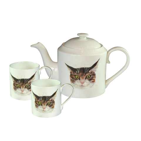 Cat Teapot and matching mugs. Catnap Design London.