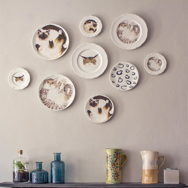 Mixed size set of 4 cat plates (Edged) - Ideal as decorative hanging plates