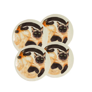 Siamese cat plates. 4 White china coupe plates with illustrated siamese cats on them. Catnap Design London