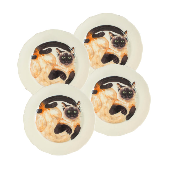 Siamese cat plates. 4 White china coupe plates with illustrated siamese cats on them. Dinner plate size. Catnap Design London