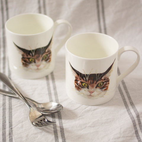 Illustrated tabby cat mugs. Catnap Design London.