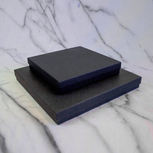 Two black shallow gift boxes for plates.