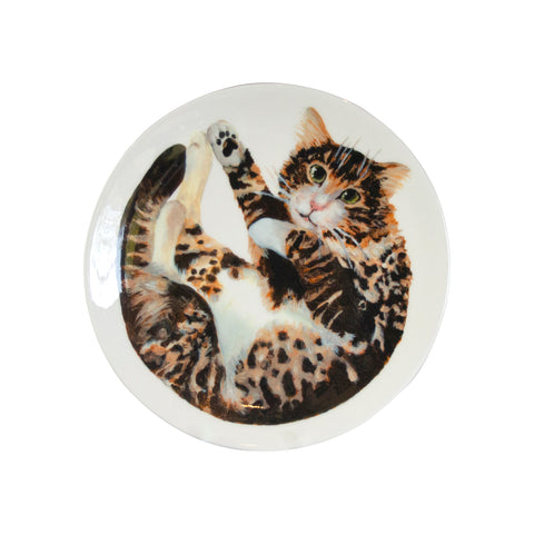 A tabby cat printed on the bottom of a Fine bone china pasta bowl. Catnap Design London.