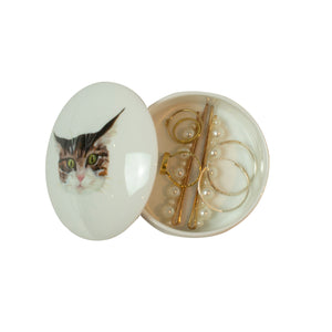 A circular china box with an illustrated tabby cat face printed on the lid. The lid is ajar. Catnap Design London.