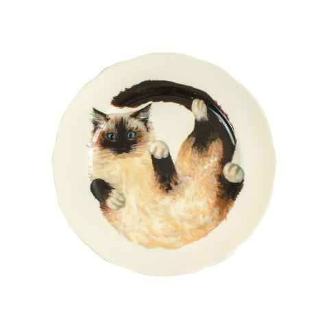 White china plate with an illustrated Ragdoll cat printed on it. Aerial view of the larger plate size.