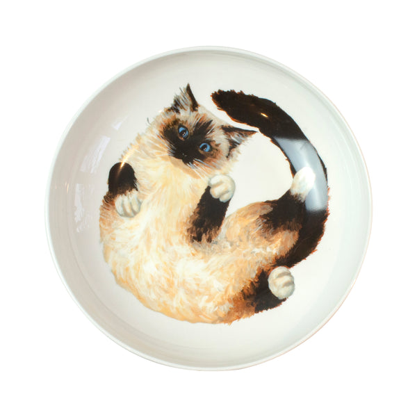 A Ragdoll cat pattern on the bottom of a pasta bowl. Catnap Design London.