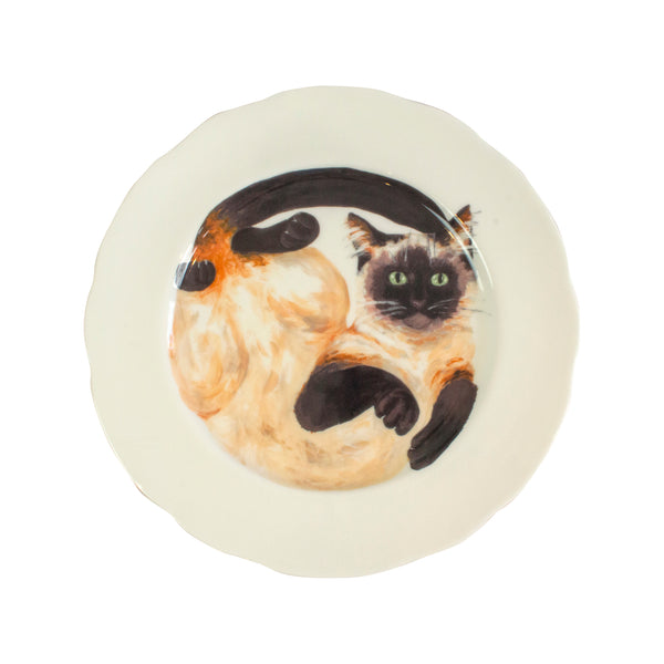 White china plate with a Siamese cat printed on it. Aerial view of larger plate size. Catnap Design London.