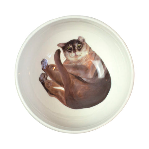 Burmilla cat printed on the bottom of a cereal bowl. Aerial view of bowl. Catnap Design London.