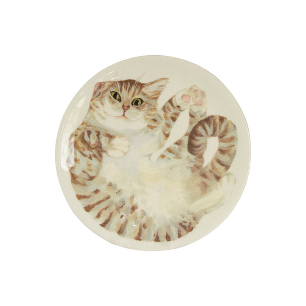 A pale tabby cat printed on a white plate. Front view. Catnap Design London.