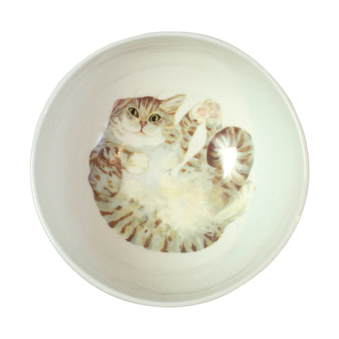 Pale tabby cat printed on the bottom of a cereal bowl. Aerial view of bowl. Catnap Design London.