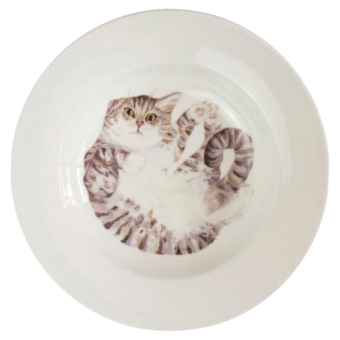 A pale tabby cat printed on the bottom of a rimmed serving bowl. Aerial view. Catnap Design London.