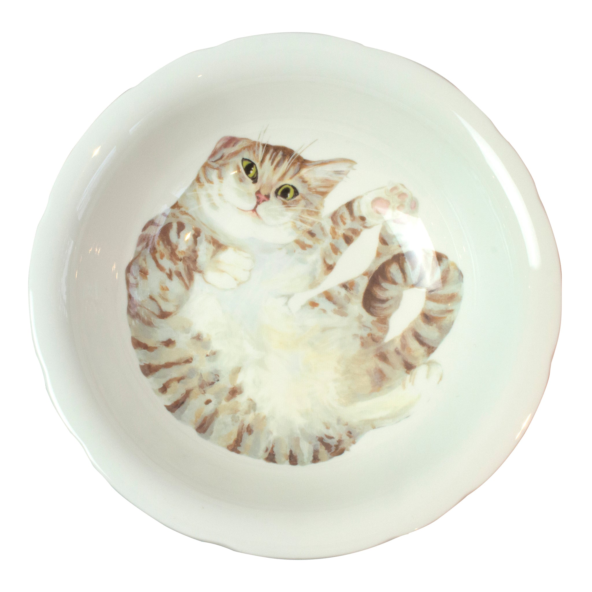 A pale tabby cat printed on the bottom of a serving bowl. Aerial view. Catnap Design London.