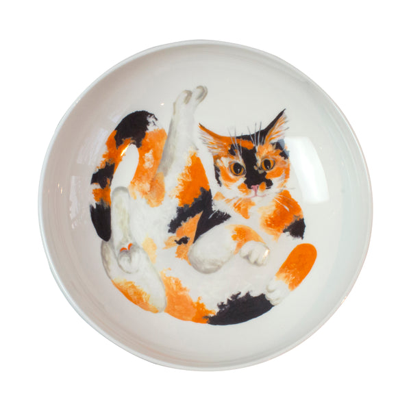 A calico cat pattern on the bottom of a pasta bowl. Catnap Design London.