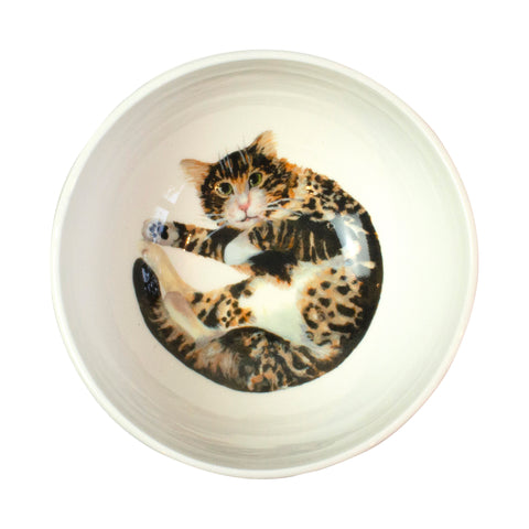 A white china cereal bowl with a tabby cat pattern in the bottom. Aerial view of bowl. Catnap Design London.
