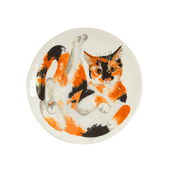 Tortoiseshell cat plate. A white china coupe plate with an illustrated calico cat printed on it. Front view of plate. Catnap Design London.