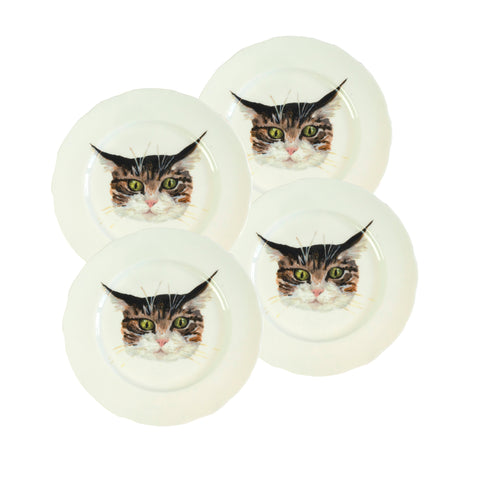 Cat face plates. 4 White china coupe plate with illustrated tabby cat faces on them. Dinner plate size. Catnap Design London.