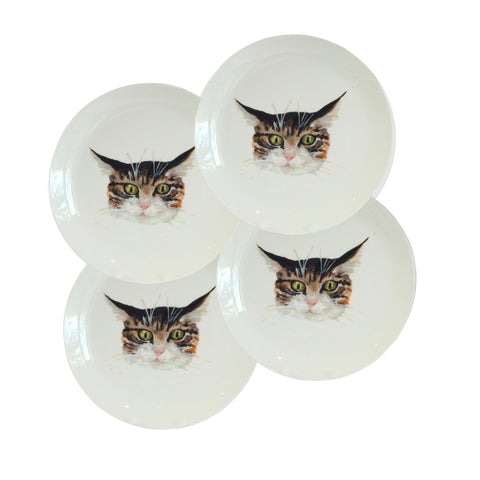 Set of 4 cat face plates. White china coupe plate with illustrated tabby cat faces on it. Catnap Design London.