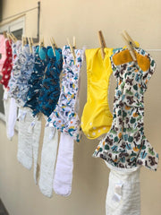 The Cloth Nappy Company Malta Stain Free Nappies hanging outside in the sun