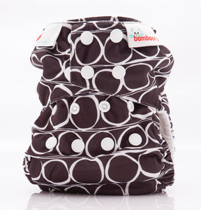 Bambooty One Size All in Two OOOO Charcoal print The Cloth Nappy Company Malta