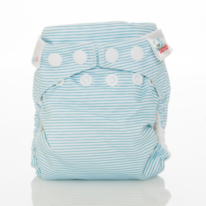 The Cloth Nappy Company Malta Bambooty newborn nappy baby blue sripes