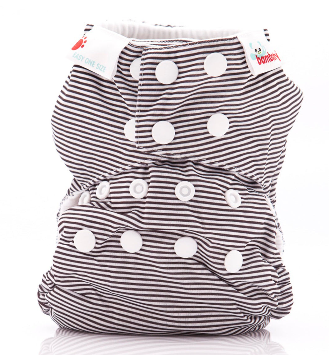 Bambooty One Size All in Two Black Stripes print The Cloth Nappy Company Malta