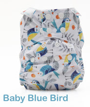 Load image into Gallery viewer, Bambooty One Size Nappy Cover Baby Blue Bird print The Cloth Nappy Company Malta