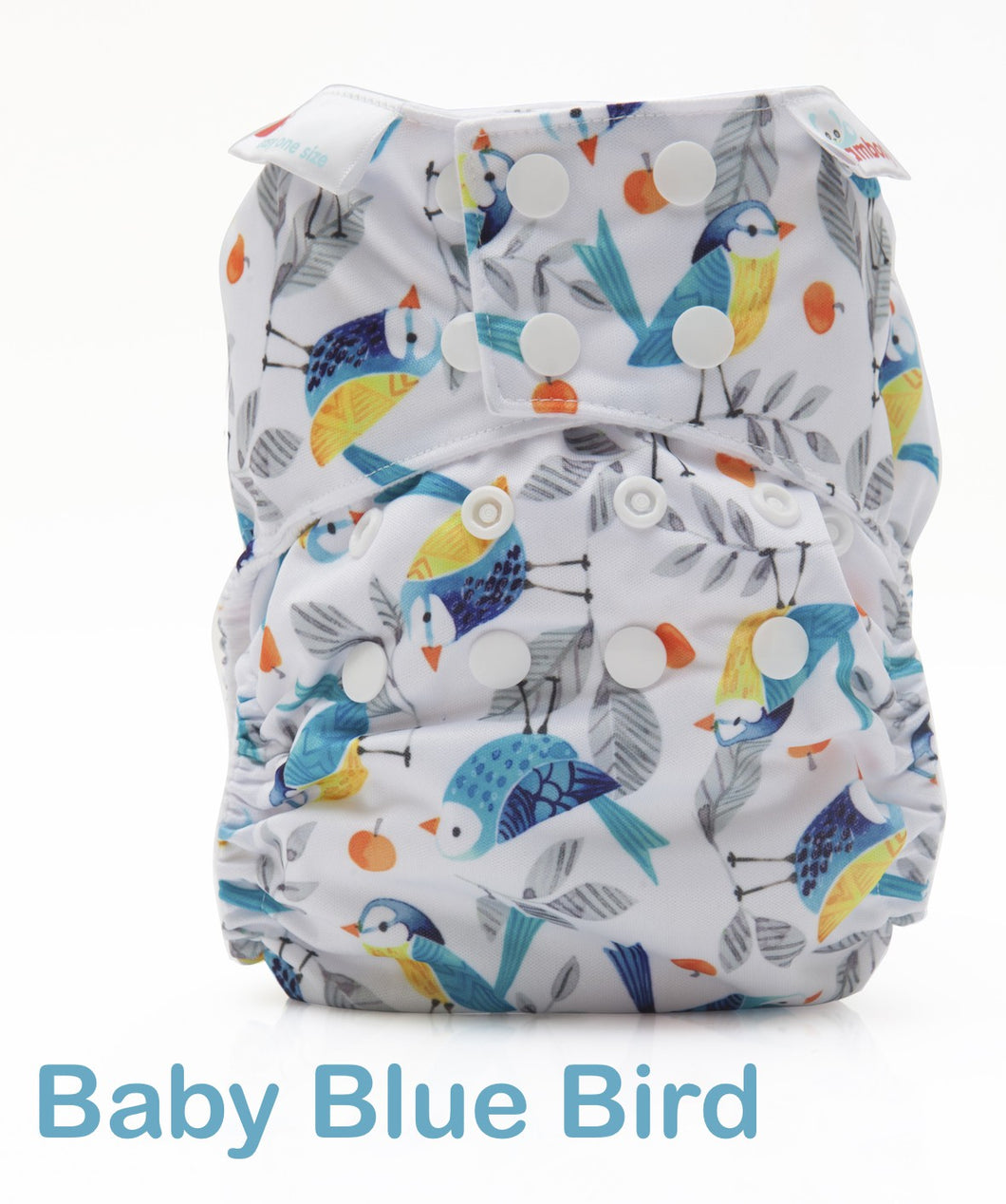 Bambooty One Size Nappy Cover Baby Blue Bird print The Cloth Nappy Company Malta