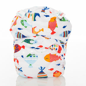 Bambooty One Size Nappy Cover Fishies print The Cloth Nappy Company Malta