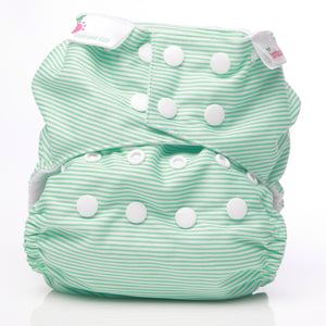 Bambooty One Size Nappy Cover Green Stripes print The Cloth Nappy Company Malta