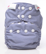 Load image into Gallery viewer, Bambooty One Size Nappy Cover Navy Blue Stripes print The Cloth Nappy Company Malta