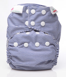 Bambooty One Size Nappy Cover Navy Blue Stripes print The Cloth Nappy Company Malta