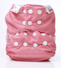 Load image into Gallery viewer, Bambooty One Size Nappy Cover Red Stripes print The Cloth Nappy Company Malta